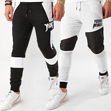 Y et W - Pantalon Jogging Réversible Motor Noir Blanc