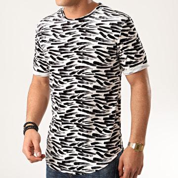 Frilivin - Tee Shirt Oversize Velours 13816P Blanc Noir