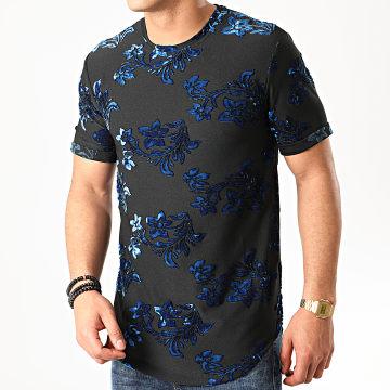 Tee Shirt Oversize Floral Velours 13816H19 Noir Bleu
