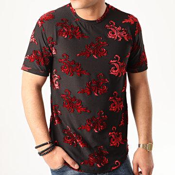 Tee Shirt Oversize Floral Velours 13816H19 Noir Rouge