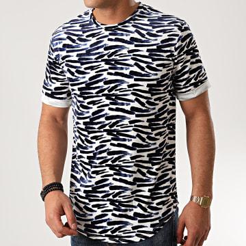 Frilivin - Tee Shirt Oversize Velours 13816P Blanc Bleu Marine