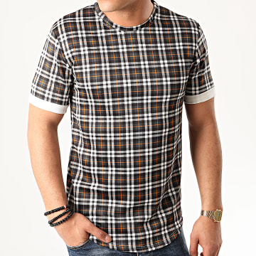 Tee Shirt Oversize A Carreaux 13813H10 Gris Anthracite