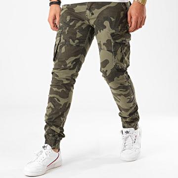Frilivin - Pantalon Cargo Camouflage 8701 Vert Kaki Clair