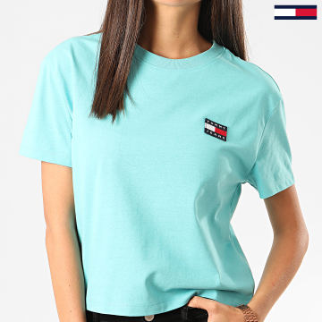 Tommy Jeans - Tee Shirt Femme Crop Tommy Badge 6813 Bleu Turquoise