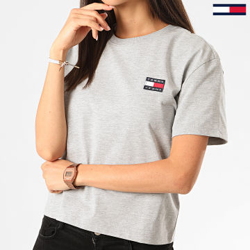 Tommy Jeans - Tee Shirt Femme Crop Tommy Badge 6813 Gris Chiné