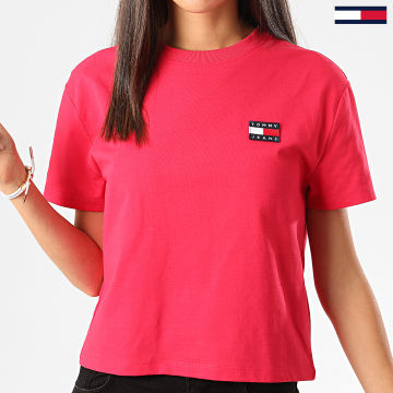 Tommy Jeans - Tee Shirt Femme Crop Tommy Badge 6813 Rose Fushia