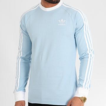 Tee Shirt Manches Longues A Bandes FM3780 Bleu Ciel