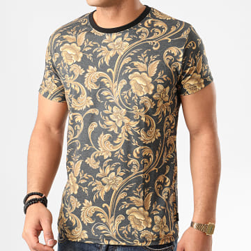 Indicode Jeans - Tee Shirt Floral Toledo 40-570 Gris Anthracite Chiné
