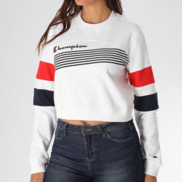 Champion - Sweat Crewneck Femme Crop Tricolore 112761 Blanc