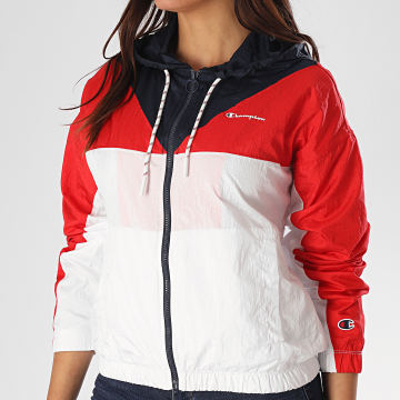 Champion - Veste Zippée Capuche Femme Tricolore 112771 Blanc Rouge Bleu Marine