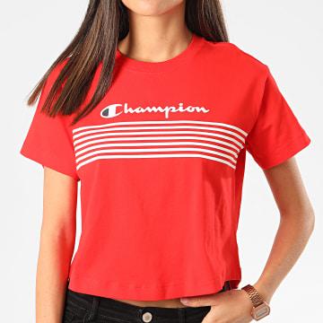 Champion - Tee Shirt Femme Crop 113098 Rouge