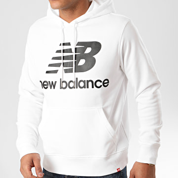 New Balance - Sweat Capuche Essential Stacked Logo 690950 Blanc