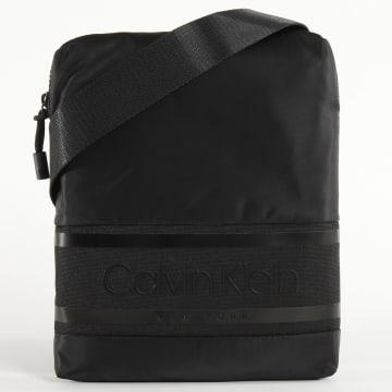 Calvin Klein - Sacoche Striped Logo Flat Crossover 5378 Noir