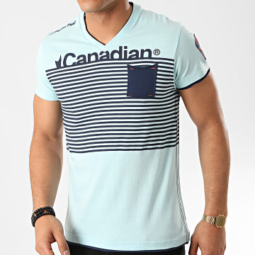 Canadian Peak - Tee Shirt Poche Col V Jerem Bleu Clair