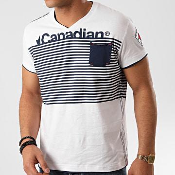 Canadian Peak - Tee Shirt Poche Col V Jerem Blanc