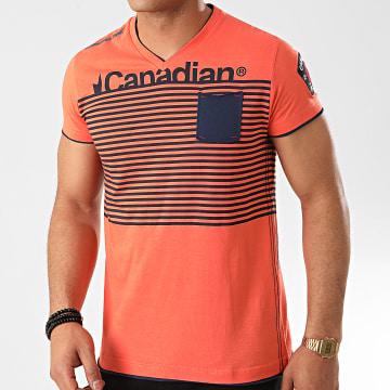 Canadian Peak - Tee Shirt Poche Col V Jerem Orange