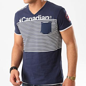 Canadian Peak - Tee Shirt Poche Col V Jerem Bleu Marine