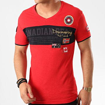 Canadian Peak - Tee Shirt Col V Jungle Rouge