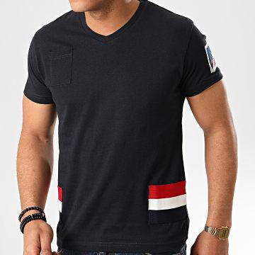 Classic Series - Tee Shirt Poche Col V Jastar Bleu Marine