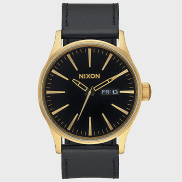 Nixon - Montre Sentry Leather A105-513 Gold Black