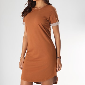 Only - Robe Tee Shirt Femme Ivy Marron