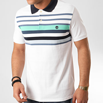 Timberland - Polo Manches Courtes Block Stripes A1ZR9 Blanc
