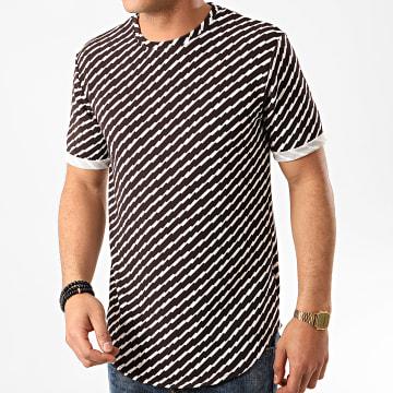 Frilivin - Tee Shirt Oversize 13813 Marron Foncé Blanc