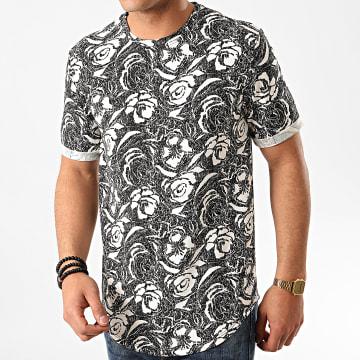 Frilivin - Tee Shirt Oversize Floral 13813H08 Noir Blanc