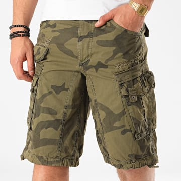 Geographical Norway - Short Cargo Panoramique Vert Kaki Camouflage