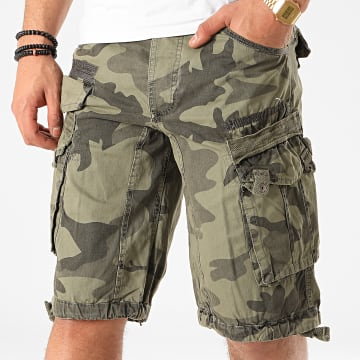 Geographical Norway - Short Cargo Panoramique Vert Kaki Clair Camouflage