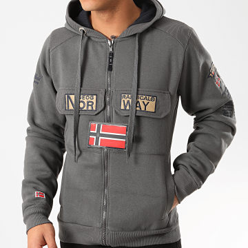 Geographical Norway - Sweat Zippé Capuche Gymclass Gris Anthracite