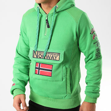 Geographical Norway - Sweat Col Zippé Capuche Gymclass Vert Fluo