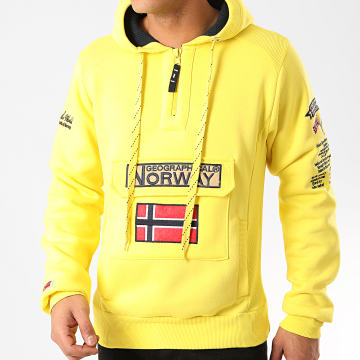 Geographical Norway - Sweat Col Zippé Capuche Gymclass Jaune Fluo