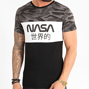 Tee Shirt Japan Tricolore Noir Blanc Camo