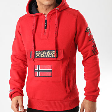Geographical Norway - Sweat Col Zippé Capuche Gymclass Rouge