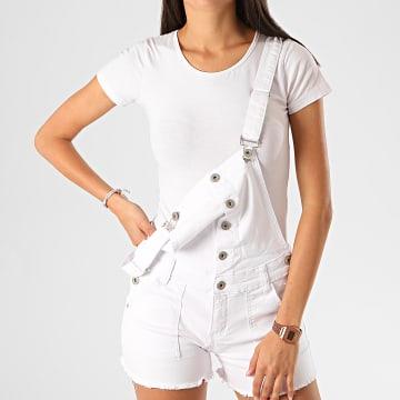 Girls Only - Salopette Short Jean Femme SZ392 Blanc