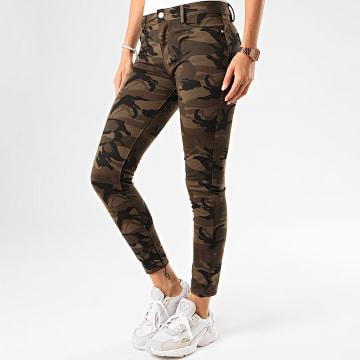 Girls Only - Jean Slim Femme DT339 Vert Kaki Camouflage