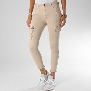 Girls Only - Pantalon Cargo Slim Femme DZ387 Beige