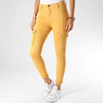 Girls Only - Pantalon Cargo Slim Femme DZ387 Jaune Moutarde