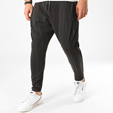Ikao - Pantalon A Rayures F686 Gris Anthracite Chiné