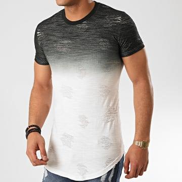 John H - Tee Shirt Oversize T2072 Noir Blanc Dégradé