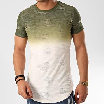 John H - Tee Shirt Oversize T2072 Vert Kaki Blanc
