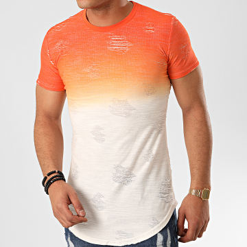 John H - Tee Shirt Oversize T2072 Orange Blanc Dégradé