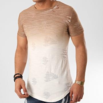 John H - Tee Shirt Oversize T2072 Camel Blanc
