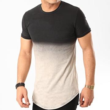 John H - Tee Shirt Oversize T2601 Noir Gris Dégradé