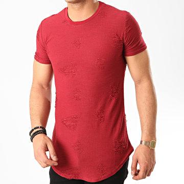 John H - Tee Shirt Oversize T2071 Bordeaux