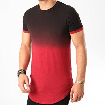 John H - Tee Shirt Oversize T2601 Noir Bordeaux Dégradé