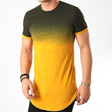 John H - Tee Shirt Oversize T2601 Noir Jaune Moutarde Dégradé