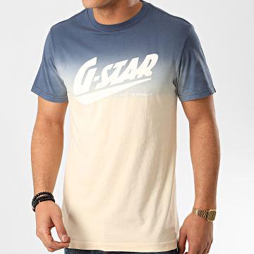 G-Star - Tee Shirt Dégradé D16424-2653 Bleu Beige