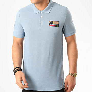 Jack And Jones - Polo Manches Courtes Badge Bleu Clair Chiné